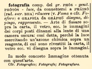 etimologia della parola fotografia da etimo.it